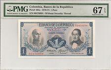 P-404e 1970-74 1 Peso, Columbia, Banco de la Republica, PMG 67EPQ