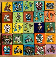 "New Listing100~Talavera Mexican pottery 2"" Tile Day of the Dead assorted skulls Catrina"