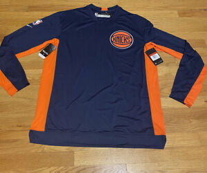 Nike NBA New York Knicks Blue Warm Up Long Sleeve T-Shirt Large-T Player Issue