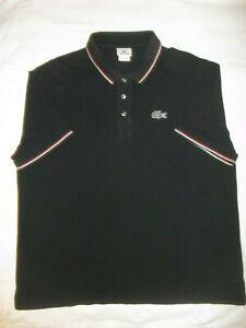 Lacoste Polo Shirt Size 8 Mens Short Sleeve Black Red White Trim 100% Cotton