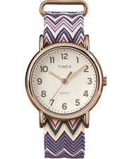 "Timex TW2R59000, ""Weekender"" Striped Chevron Fabric Watch, Indiglo"