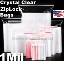 Clear Reclosable Zip Lock Plastic Ziplock Bags 1 Mil Jewelry Poly Zipper T-Shirt