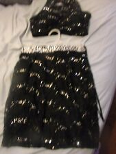 Ladies Xuraondinary-2 Piece Top And Shorts-Size 5-Blk.With Silver Squions-Cute