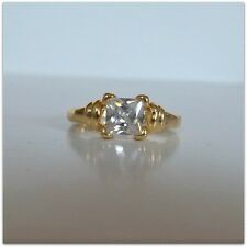 Clear White Cubic Zirconia Gemstone 18k Gold Plated Statement Ring Size 6 AM551