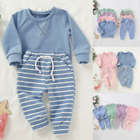 ❤️ Toddler Baby Boy Girls Clothes Tracksuit Hoodie Top Striped Pants Outfits Set