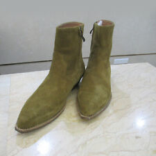 Mens Cuban Heels Chelsea Boots Pointed Toe Suede Leather High Top Shoes Side Zip