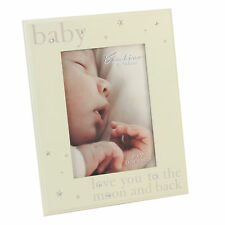"Beautiful Bambino cream wooden 5 x 7"" frame love you to the moon & back CG337"