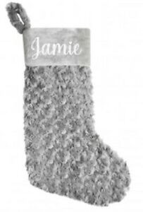 Large personalised Christmas stocking, grey glitter, gift, fluffy, strong, décor