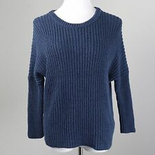 Madewell S Navy Blue Crop Swing Sweater Cotton Linen Chunky Knit Loose Shirt Top