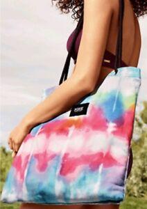 NEW Victoria's Secret PINK Packable Beach Towel Tote tie dye tye bag Rainbow +++