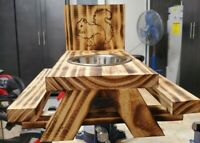 Handmade Squirrel Picnic Table w/Torched Finish and Metal Bowl + Waterproofed.