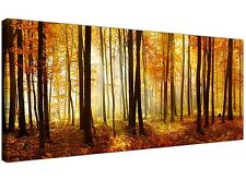 Modern Orange Forest Trees Landscape Canvas Print - Panoramic Wall Art