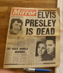 Daily Mirror August 17th 1977 ELVIS PRESLEY IS DEAD [G+] Partial Newspaper