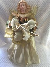 Vintage Angel Christmas Gold W/ Roses Tabletop or Tree Topper 14.5�