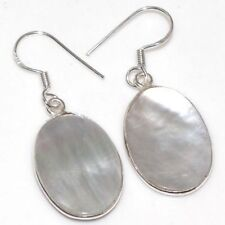 Sterling Silver Natural MOTHER OF PEARL Dangling Earrings Bold ChunKY Hand Made