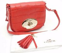 Coach Liv In Croc Embossed Calf Leather Watermelon 35119 Red Cross Body Bag $375