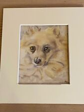 More details for orig antique pomeranian dog watercolour painting 1935 superb quality