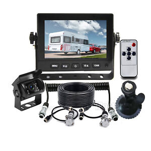 """5"""" Monitor 4 PIN + Trailer Suzy Coil Cable + HD CCD Reversing Camera For Caravan"""