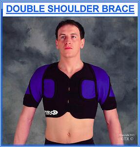 Proline Double Shoulder Brace Black Medical Support Wear Sport Protection Gear