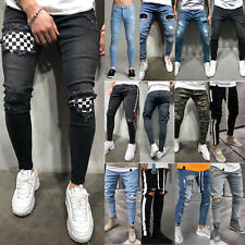 Mens Skinny Ripped Jeans Biker Frayed Stretchy Casual Slim Fit Denim Trousers M