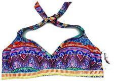 Jessica Simpson Plus Size Bali Breeze Printed Halter Bra Bikini Top Multi 2X