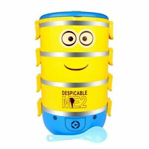 Minion Stainless Steel Thermal Insulated Lunch Box Bento Food Container 4 Layer