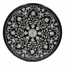 2'x2' Black Marble Side Center Table Top Mother of Pearl Mosaic Inlay Art Decor