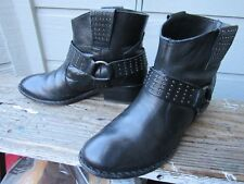 Kork-Ease KATIE Black Leather Studded Ankle Boot US 6.5 EU 37 Harness Ring K3140