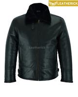 RAF Mens B3 Air Force Pilot Flying Aviator Fur Bomber Black Leather Jacket