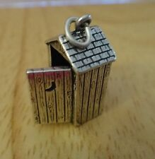 1 Sterling Silver 3D 20x15mm Old West Outhouse with Moon Charm