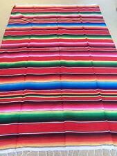 Genuine Mexican sarape blanket red throw hot rod car seat yoga mat rug large