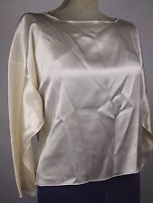 NWT Women's ZORAN 100% Silk Ivory Oversized Boxy Scoop Blouse Shirt - Size OS