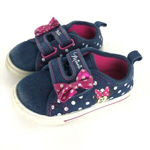 Disney Minnie Mouse Polka Dot Bow Denim Shoes 6 girls
