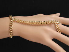 New Women Gold Classic Fashion Thick Meatl Hand Chunky Chain Bracelet Slave Ring