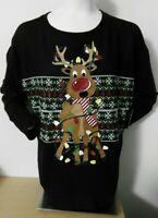 Tangled CHRISTMAS LIGHTS Red Nose REINDEER SWEATER Juniors XL 2XL 3XL NEW W/TAG!