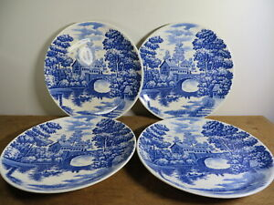 Vintage Blue Willow Japan Set 4 Dinner Plates 26 cm VGC