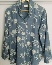 Chicos Blue Embroidered Blouse Size 3