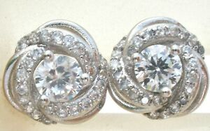 Sterling Silver Pierced Post CZ Earrings Clear Cubic Zirconias 925