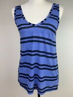 Michael Stars Women's Top XS Blue Navy Stripe Tank Sleeveless Tee Poly Cotton