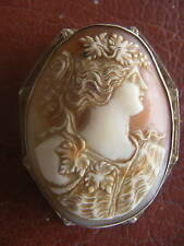 """ANTIQUE 14K WHITE GOLD CAMEO PIN, BROOCH OR PENDANT WOMAN 2 1/4"""""""