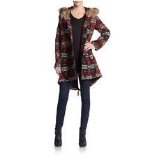 5/48 Women's Brenden Black/red Faux-Fur Trim Hooded Blanket Coat Sz M Reg NWT