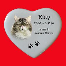 Grabbild Grabstein Tiergrabbild Porzellan Herz Katze-p19 ► Ihr Foto ◄ 15x13 cm