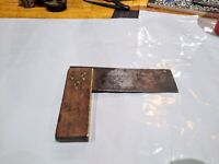 """Antique Rosewood & Brass 6"""" Try Square, Steel Rule 2"""" Wide"""