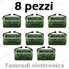 8x Batteria ricaricabile NiMh 4/5 SC 1,2V 2000mAh terminali saldare lamelle tabs