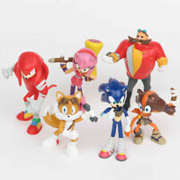 6PCS Sonic The Hedgehog Knuckles Tails Action Figure Collection Kids Toy USA
