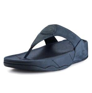 FitFlop Sz10 211-097 Navy Blue Nubuck Suede Thong Sandal Flip Flop Wedge EUC 10
