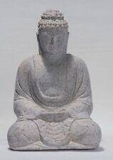 More details for buddha - antique japanese style seated stone meditation buddha statue - 33cm/13