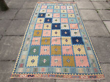 Fine Old Traditional Hand Made Persian Oriental Pink Blue Kilim Rug 250x140cm