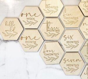 Wooden Milestone Cards Hexagon Newborn Baby Shower Cards Wood 14 Pcs