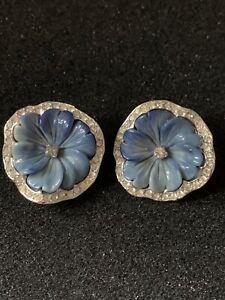 Kenneth J Lane boucles d'oreilles vintage fleurs bleues